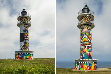 'Hô biến' ngọn hải đăng cũ thành tác phẩm đầy màu sắc sống động