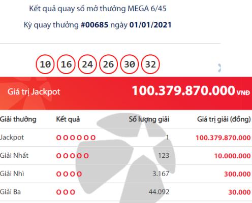 Tỷ phú Vietlott đầu tiên của năm 2021 trúng Jackpot hơn 100 tỷ