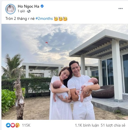 Hồ Ngọc Hà hạnh phúc khoe cặp song sinh tròn 2 tháng tuổi