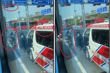 """Tranh luận """"nảy lửa"""" tình huống xe Mercedes không nhường đường xe cứu thương vì sợ phạt nguội"""