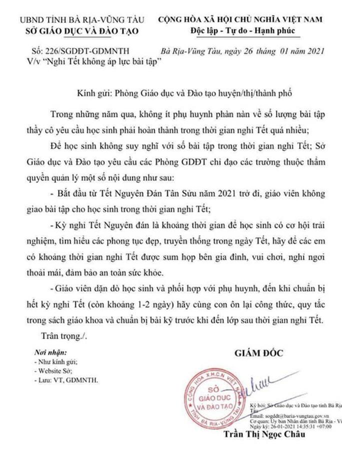 """Công văn """"nghỉ Tết không giao bài tập"""" củaBà Rịa-Vũng Tàu nhận được sự ủng hộ của hàng nghìn phụ huynh, học sinh"""