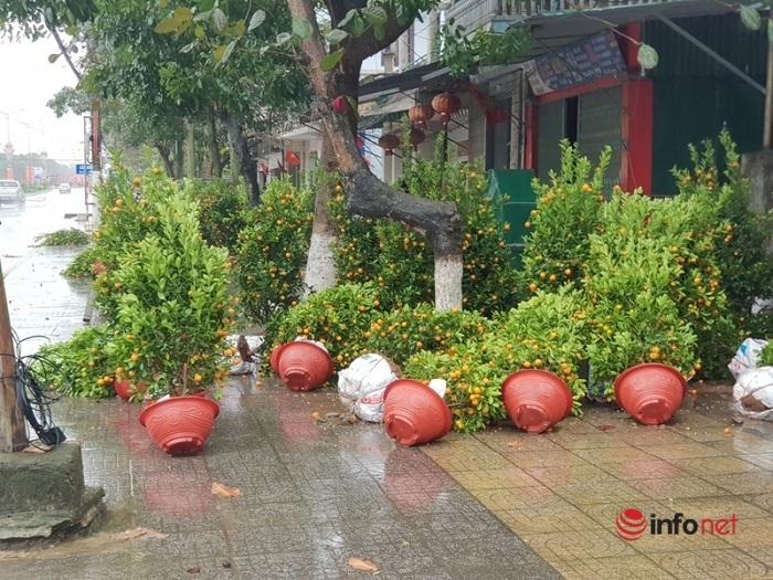 Đổ ngổn ngang sau trận mưa lớn, chợ hoa Tết ở Hà Tĩnh xơ xác vắng người