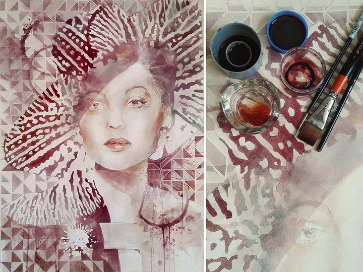 Kiểu vẽ tranh bằng rượu vang 'đỉnh của đỉnh'