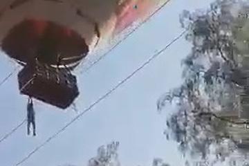 Thót tim với màn đu bám bên ngoài khinh khí cầu của người đàn ông Mexico