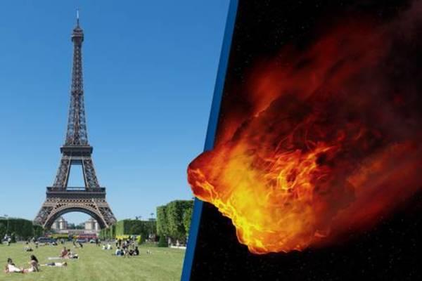 tiểu hành tinh,nasa,vật thể gần trái đất,trái đất,tháp Eiffel,paris,pháp
