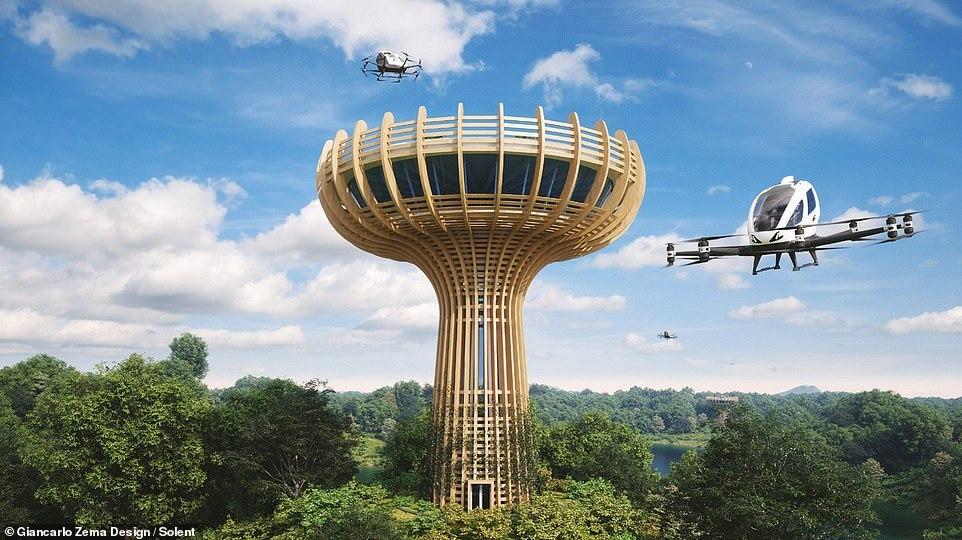 Chiêm ngưỡng taxi bay trên đỉnh tháp hình cây Bao báp ở Italia