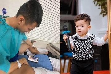 """Hậu phẫu thuật, Hùng Dũng gọi video cho con trai kèm món quà """"to bự"""""""