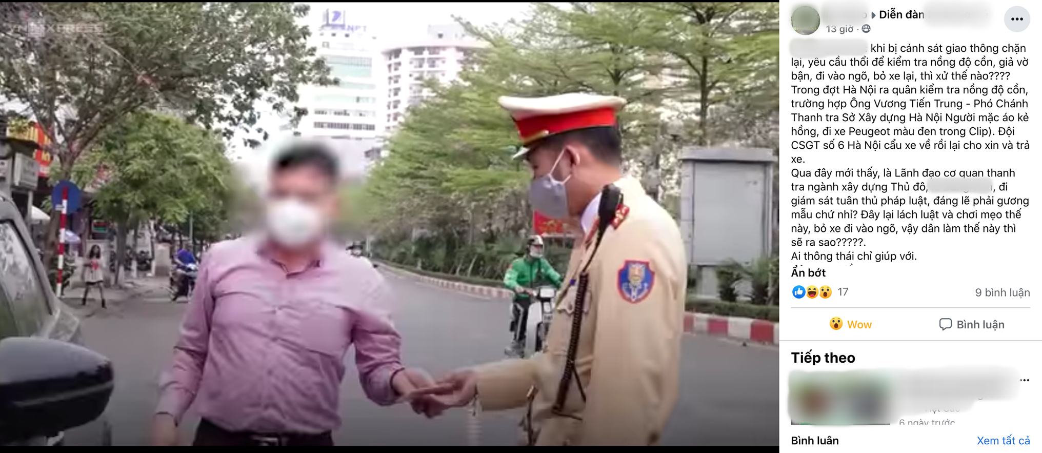Có hay không vụ Phó chánh Thanh tra ở Hà Nội 'chơi mẹo' né thổi nồng độ cồn?