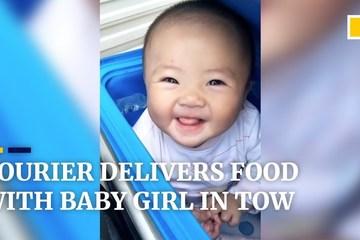 Người cha shipper ngày ngày chở con gái 6 tháng tuổi cùng đi giao hàng
