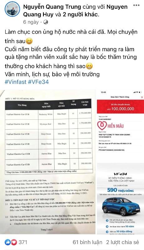 Lộ diện người đặt mua ô tô điện VinFast VF e34 nhiều nhất đến thời điểm này