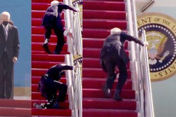 Ông Biden lại suýt ngã khi bước lên chuyên cơ Không lực Một