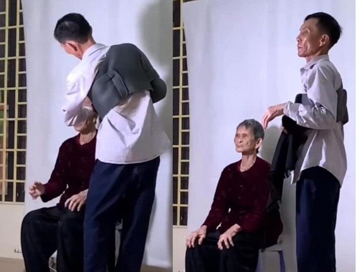 """Khoảnh khắc con trai vuốt tóc chỉnh tể cho mẹ già làm thẻ căn cước công dân """"đốn tim"""" dân mạng"""