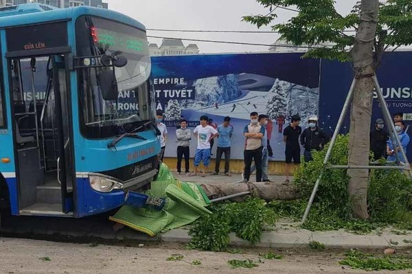 Xe bus Hà Nội lao lên vỉa hè gây tai nạn chết người trước cổng khu đô thị