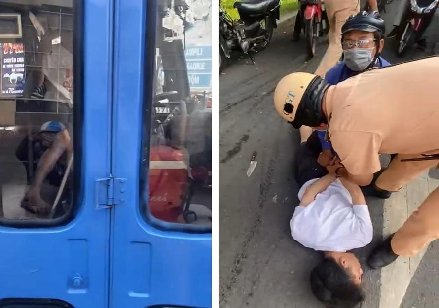 CSGT giải cứu tài xế xe buýt bị tên ngáo đá dùng dao khống chế