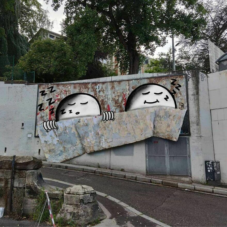 Biến hóa vết bẩn, đồ thừa thành những bức tranh đường phố đẹp mắt