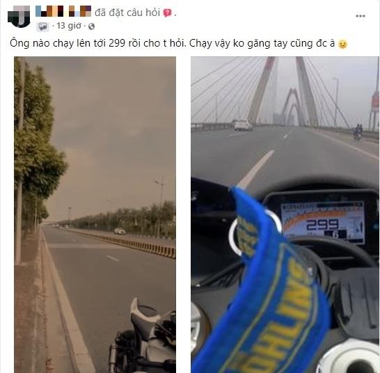 Dân mạng xôn xao xem clip 'siêu mô tô' phóng 299km/h trên cầu Nhật Tân