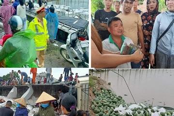 Ô tô chở 20 tấn dưa hấu bị lật, đúng lúc tài xế hoảng loạn thì nhân dân Quảng Bình chung tay trợ giúp
