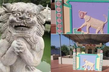 Cười rớt hàm khi chiêm ngưỡng hình điêu khắc sư tử ở miếu tổ