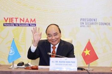 Chủ tịch nước Nguyễn Xuân Phúc phát biểu trong cuộc họp của HĐBA LHQ
