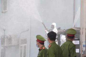 Bộ đội hoá học phun khử trùng, tiêu độc BV K cơ sở Tân Triều
