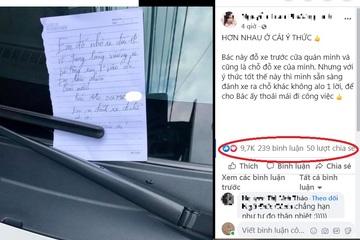 """Đỗ xe chặn cửa hàng người ta nhưng tài xế lại được khen """"văn minh"""" nhờ 1 mảnh giấy nhỏ"""