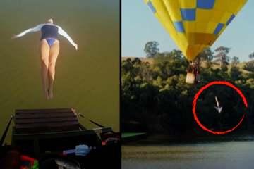 Thót tim màn nhào lộn từ khinh khí cầu đang bay xuống nước