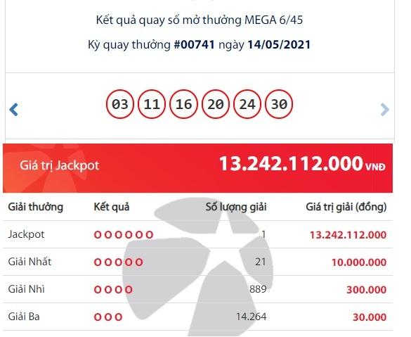 kết quả xổ số Vietlott,Jackpot,xổ số Vietlott Mega 6/45