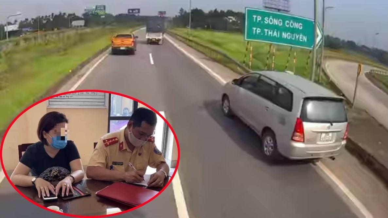 Lùi xe trên cao tốc,công an,lái xe,phạt hành chính,Thái Nguyên,CSGT,nữ tài xế