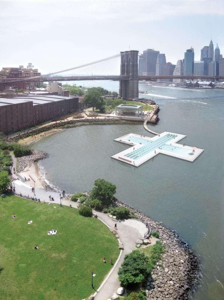Bể bơi nổi khổng lồ giữa dòng sông ở New York