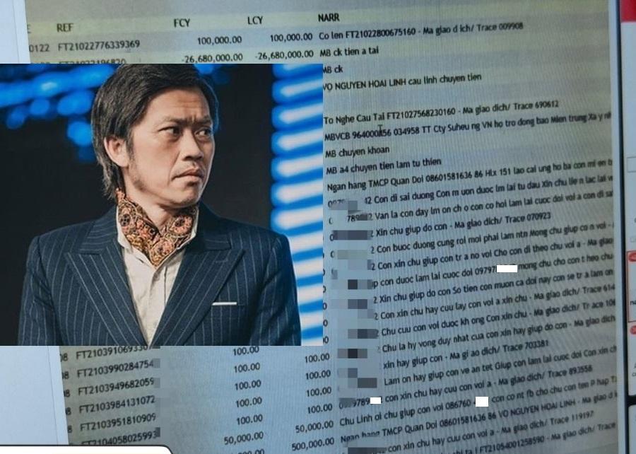 Danh hài Hoài Linh,Đánh bạc,Thua lỗ,Xin tiền,tài khoản ngân hàng