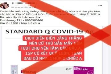 1,1 triệu đồng 2 test nhanh Covid-19: Bộ Y tế cảnh báo tránh bị lừa