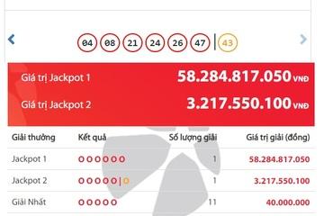 Vietlott 'nổ' ở Hà Nội, 2 người trúng Jackpot hơn 61 tỷ đồng