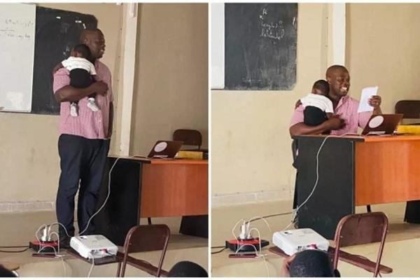 Giáo sư Senegal bế con của sinh viên trong giờ học gây sốt MXH