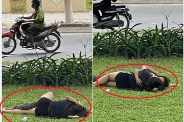 """Cặp đôi ngang nhiên """"thân mật"""" ngay bãi cỏ ven đường khiến dân mạng phẫn nộ"""