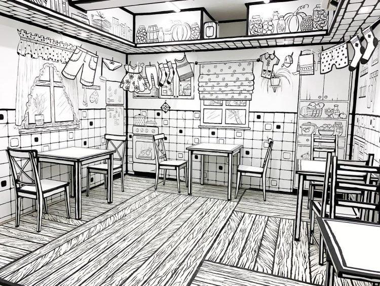 Hô biến quán cà phê thành 'quyển truyện tranh' đen trắng lạ mắt