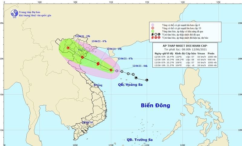 Áp thấp nhiệt đới hướng thẳng vào Vịnh Bắc Bộ, có thể mạnh thành bão