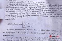 Đề thi, gợi ý đáp án môn Toán tuyển sinh lớp 10 tại Hà Nội