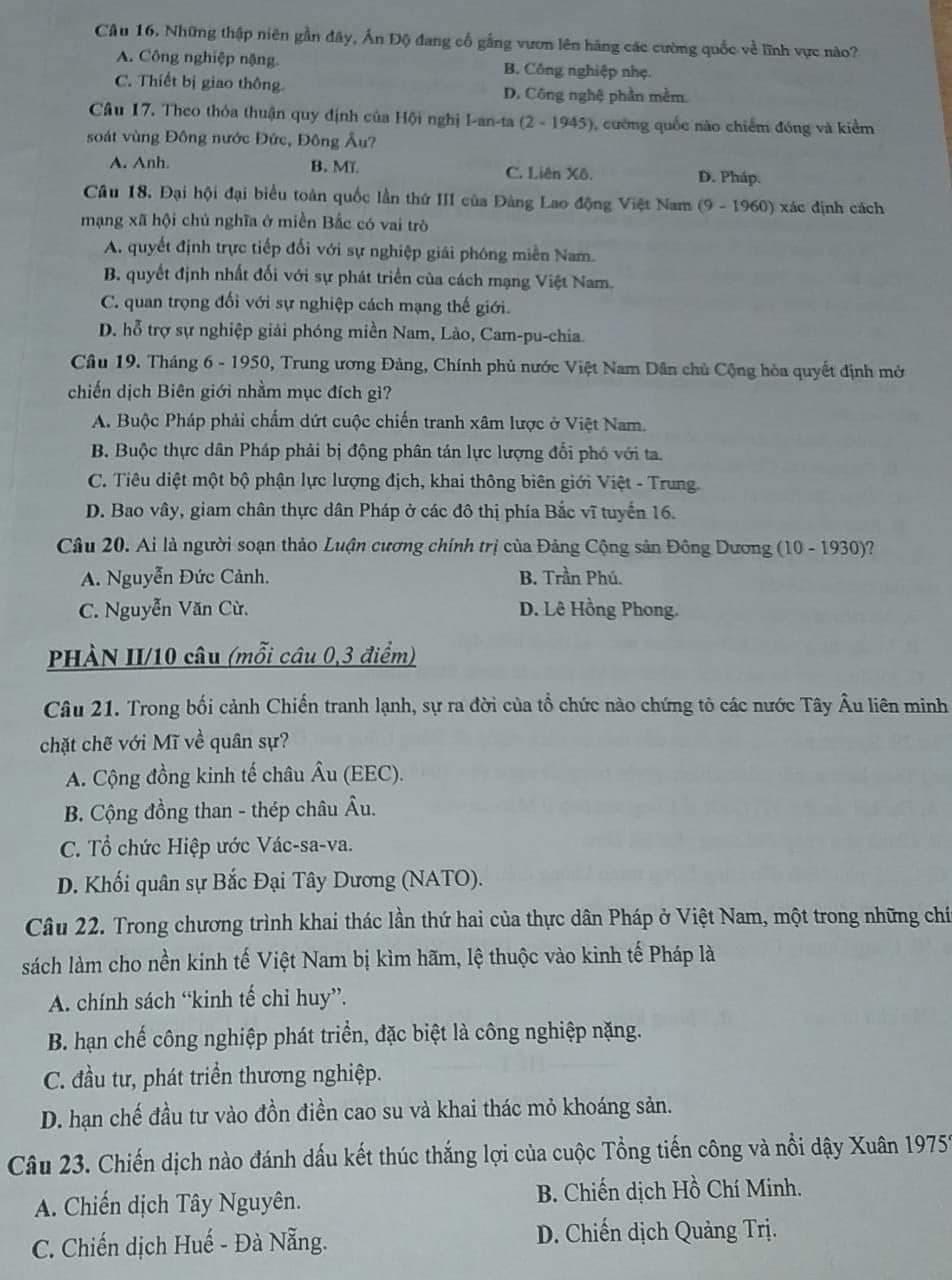 đề thi lịch sử tuyển sinh lớp 10 Hà Nội,tuyển sinh lớp 10 Hà Nội,đáp án đề thi lịch sử vào lớp 10