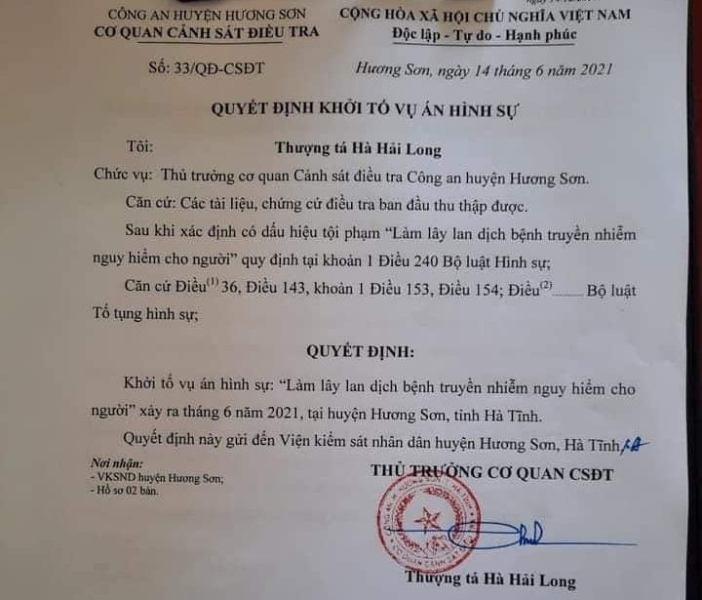 Covid-19,Sars-CoV-2,Khởi tố,Hương Sơn,lây nhiễm bệnh,Hà Tĩnh