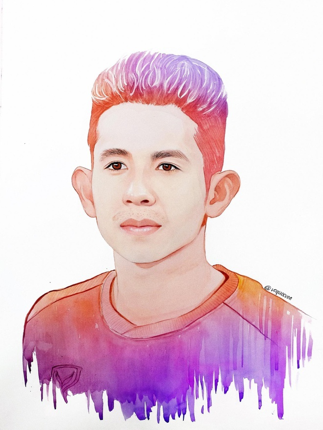 Ấn tượng chàng họa sĩ trẻ vẽ chân dung đội tuyển Việt Nam từ cà phê
