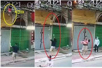 Vị ân nhân đỡ cháu bé rơi từ ban công tầng 2 được dân mạng ủng hộ hành động sau cùng