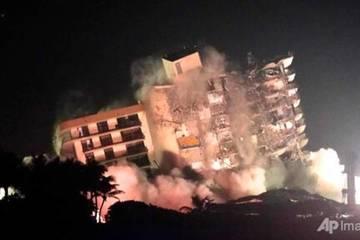 Thuốc nổ phá tan dãy kế bên chung cư 12 tầng từng bị sập một phần ở Mỹ
