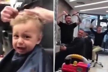 Cách những người trong tiệm cắt tóc trấn an bé trai khiến CĐM trầm trồ
