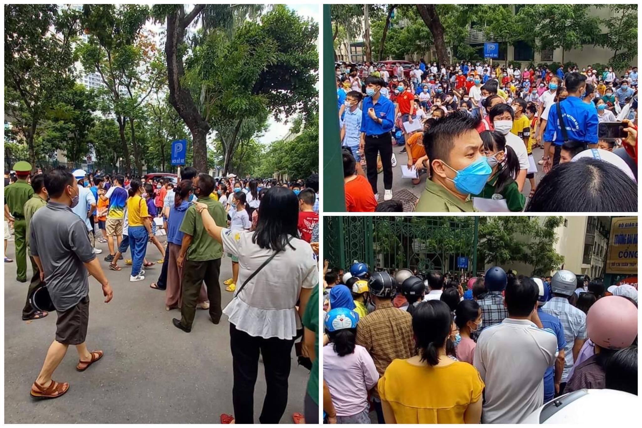 Hà Nội: Phụ huynh chen chúc ngoài cổng trường thi tuyển lớp 6 với hàng nghìn thí sinh