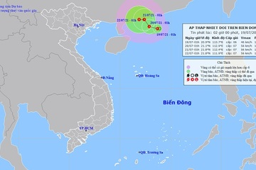 Áp thấp nhiệt đới trên Biển Đông, mưa lớn ở Bắc Bộ, Thanh Hóa