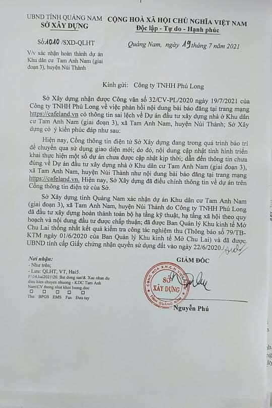 Quảng Nam: Chủ đầu tư ngã ngửa chịu tiếng oan vì website Sở Xây dựng bảo trì