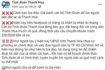 Giả mạo, tung tin đón người từ TP.HCM về Thanh Hóa để lừa tiền