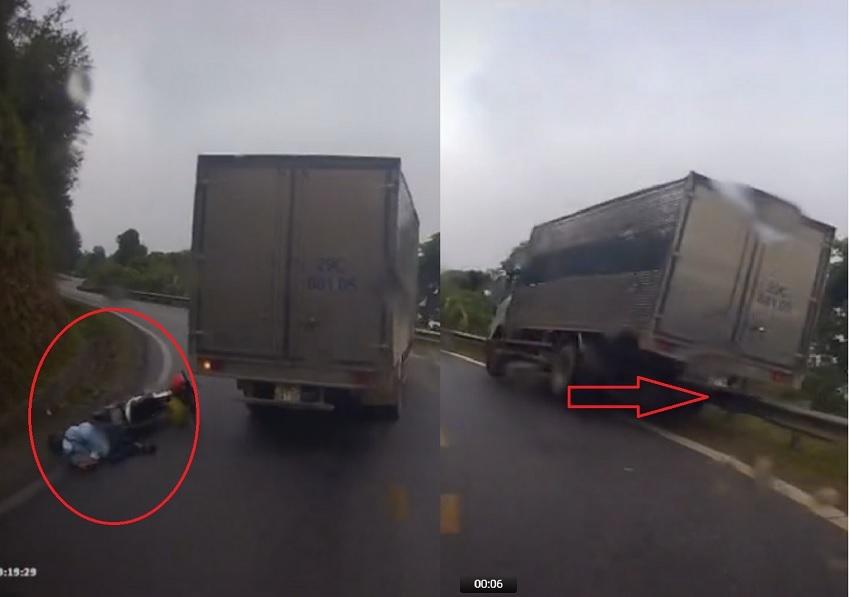 Kinh hoàng cảnh xe tải vượt ẩu trên đèo quanh co, suýt lao xuống vực