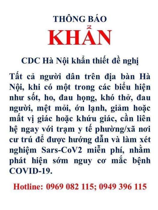Hà Nội đề nghị người dân có biểu hiện ho sốt khai báo với y tế để sàng lọc miễn phí Covid-19