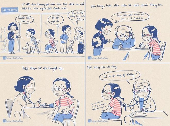 Chia sẻ bất ngờ của tác giả truyện tranh 'Nhật ký đi tiêm vắc xin': 'Đang vẽ bị sốt phải nghỉ 1 ngày'